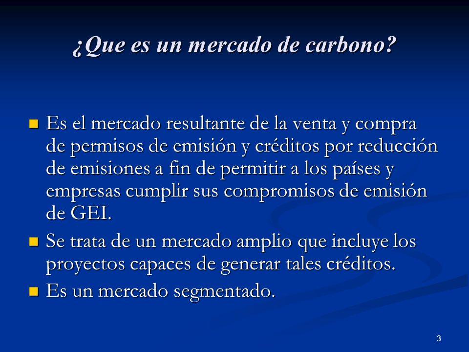 3 ¿Que es un mercado de carbono? Es el mercado resultante de la venta y compra de permisos de emisión y créditos por reducción de emisiones a fin de p