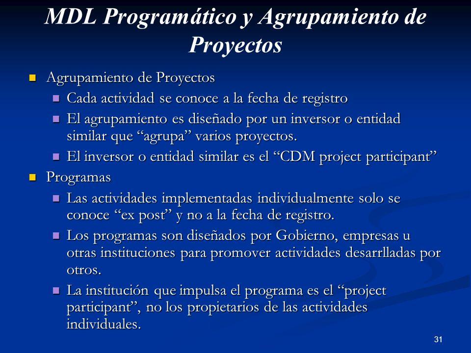 31 MDL Programático y Agrupamiento de Proyectos Agrupamiento de Proyectos Agrupamiento de Proyectos Cada actividad se conoce a la fecha de registro Ca