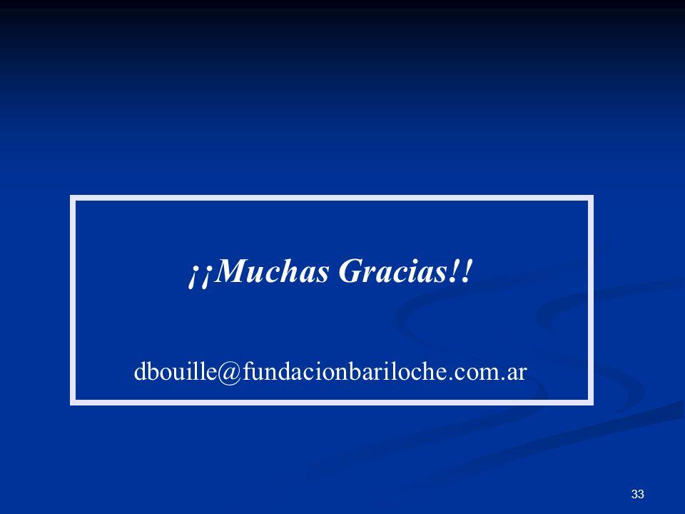 33 ¡¡Muchas Gracias!! dbouille@fundacionbariloche.com.ar