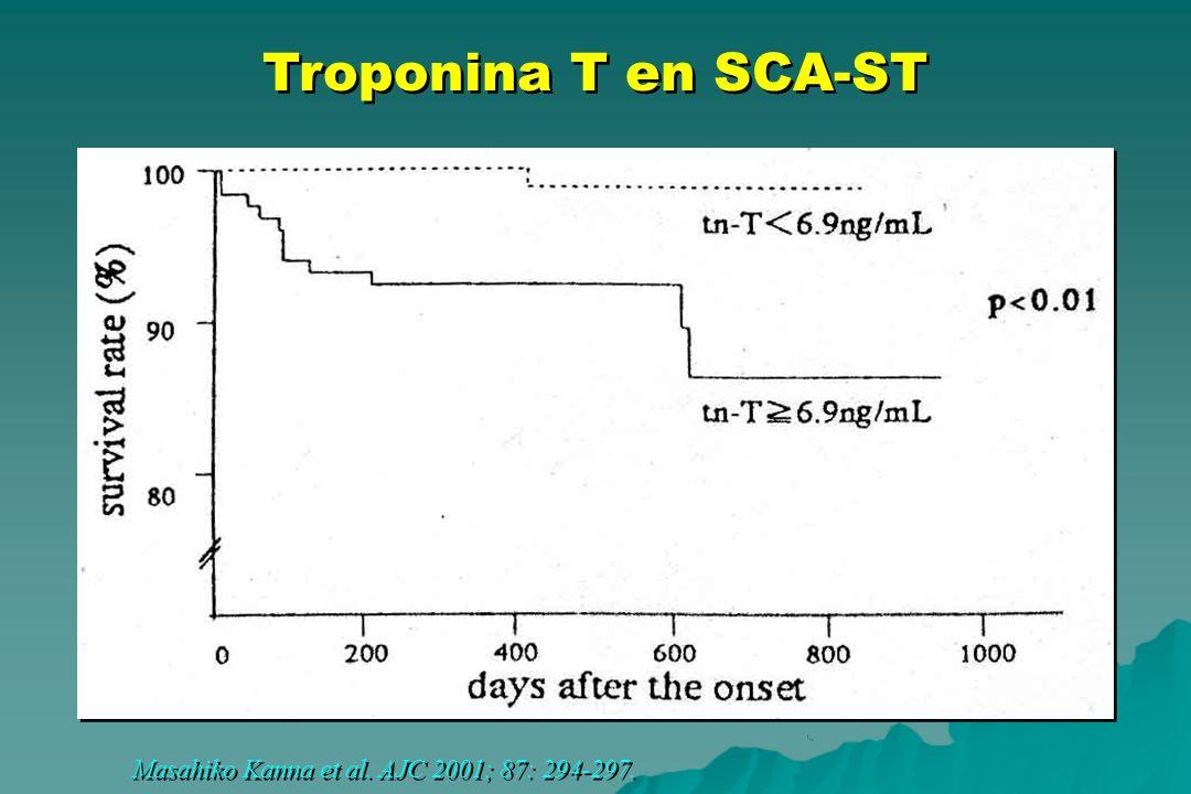 Masahiko Kanna et al. AJC 2001; 87: 294-297. Troponina T en SCA-ST