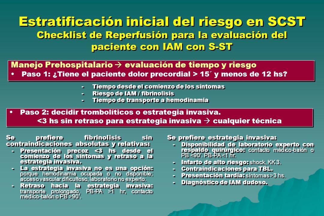 Estratificación inicial del riesgo en SCST Checklist de Reperfusión para la evaluación del paciente con IAM con S-ST Manejo Prehospitalario evaluación