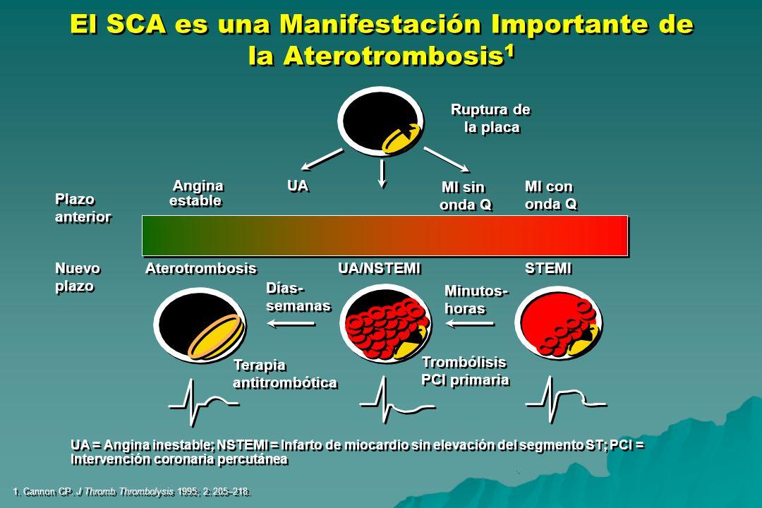 El SCA es una Manifestación Importante de la Aterotrombosis 1 1. Cannon CP. J Thromb Thrombolysis 1995; 2: 205–218. Terapia antitrombótica Terapia ant