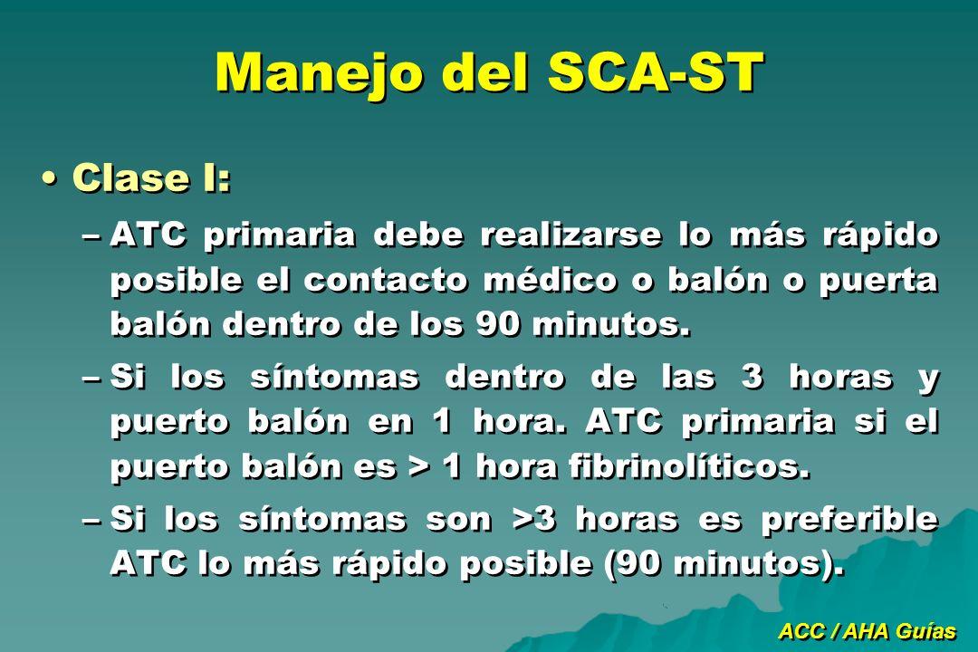 Manejo del SCA-ST Clase I: –ATC primaria debe realizarse lo más rápido posible el contacto médico o balón o puerta balón dentro de los 90 minutos. –Si