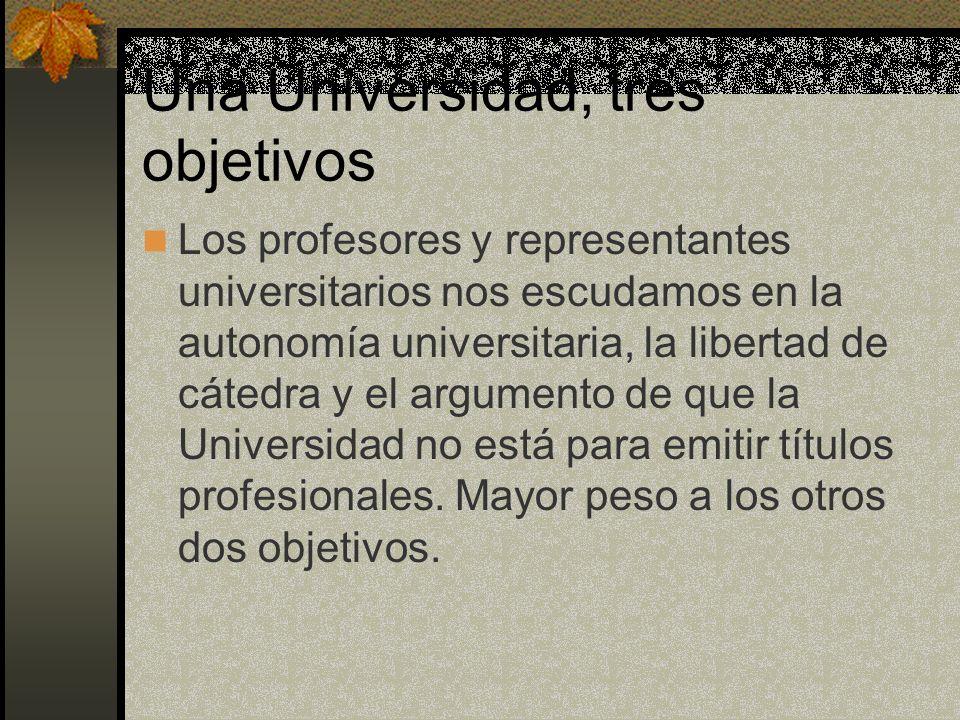 Una Universidad, tres objetivos Los profesores y representantes universitarios nos escudamos en la autonomía universitaria, la libertad de cátedra y e