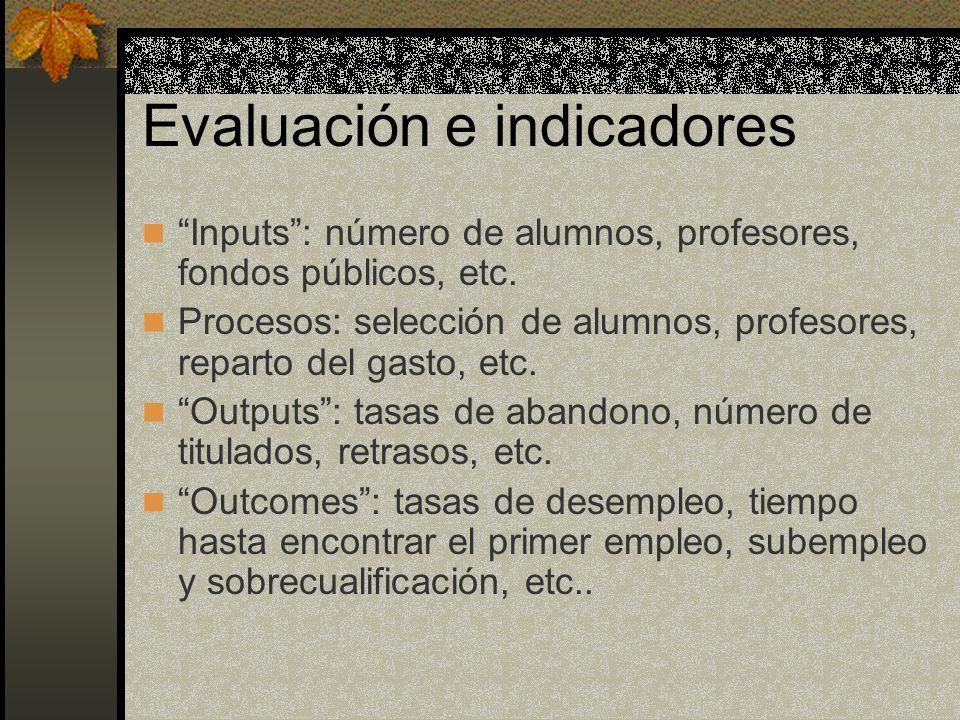 Evaluación e indicadores Inputs: número de alumnos, profesores, fondos públicos, etc. Procesos: selección de alumnos, profesores, reparto del gasto, e