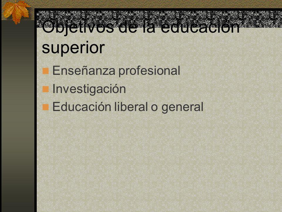 Objetivos de la educación superior Enseñanza profesional Investigación Educación liberal o general