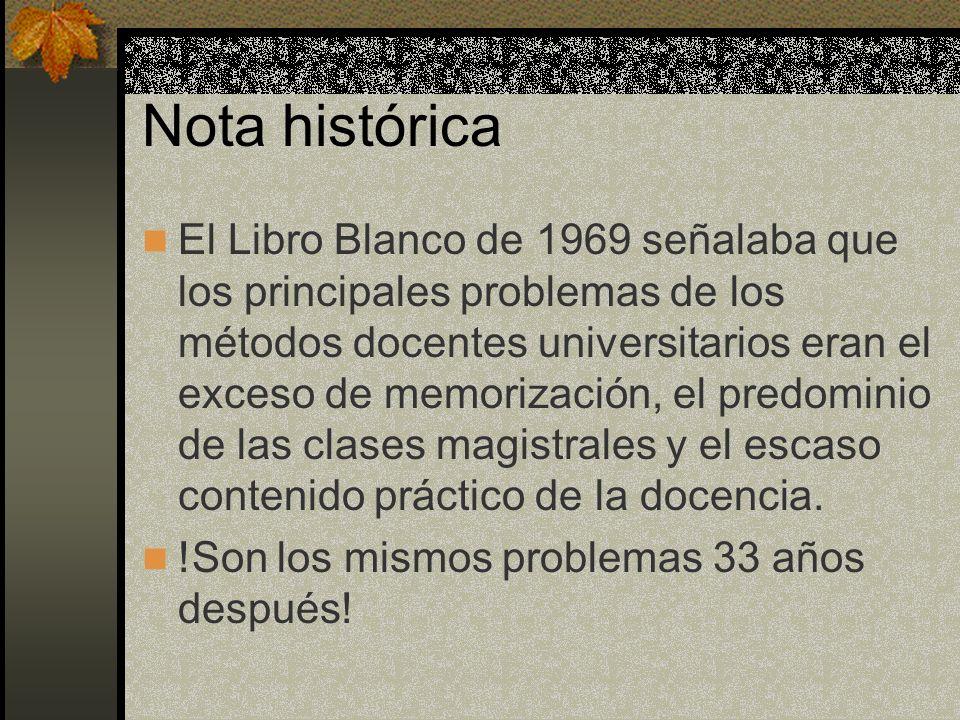 Nota histórica El Libro Blanco de 1969 señalaba que los principales problemas de los métodos docentes universitarios eran el exceso de memorización, e