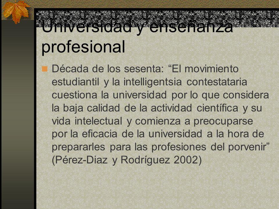 Universidad y enseñanza profesional Década de los sesenta: El movimiento estudiantil y la intelligentsia contestataria cuestiona la universidad por lo