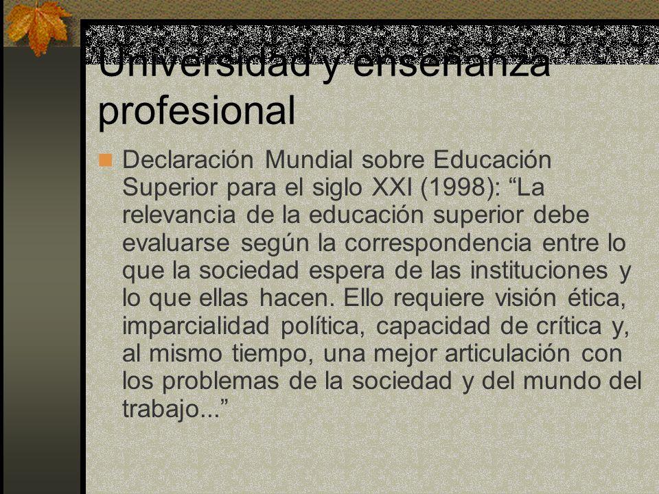 Universidad y enseñanza profesional Declaración Mundial sobre Educación Superior para el siglo XXI (1998): La relevancia de la educación superior debe