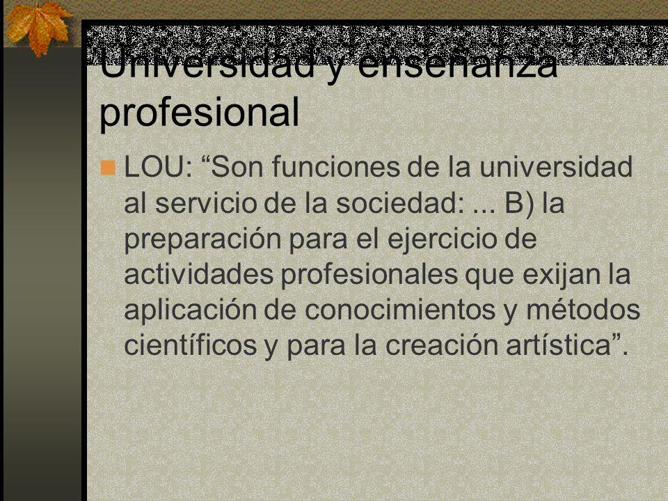 Universidad y enseñanza profesional LOU: Son funciones de la universidad al servicio de la sociedad:... B) la preparación para el ejercicio de activid