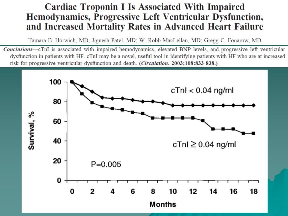PCR en ICA: PRONÓSTICO <6 mg/L N: 63 (%) 6-25 mg/L N: 76 (%) >25 mg/L N: 75 (%) Valor p Ingreso a UCC 143033 0.028 Mortalidad hospitalaria 2915 0.027 Mortalidad a 2 años 33.542.453.6 0.0265 Rehospitalización o muerte a 2 años 46.335863.0 0.0015 AHJ 2006; 151: 845-850.
