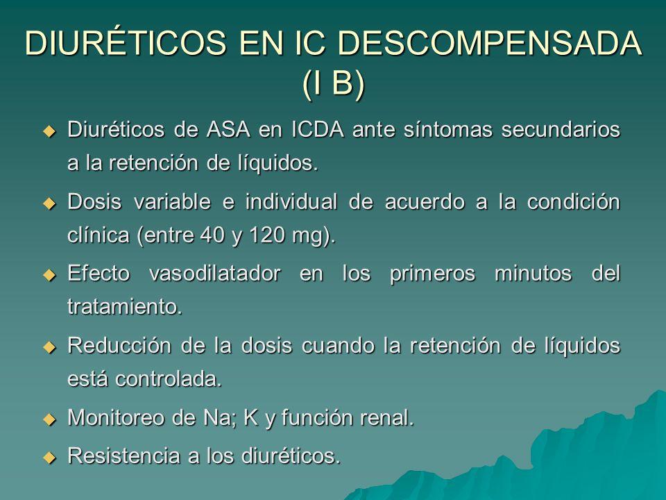 DIURÉTICOS EN IC DESCOMPENSADA (I B) Diuréticos de ASA en ICDA ante síntomas secundarios a la retención de líquidos.