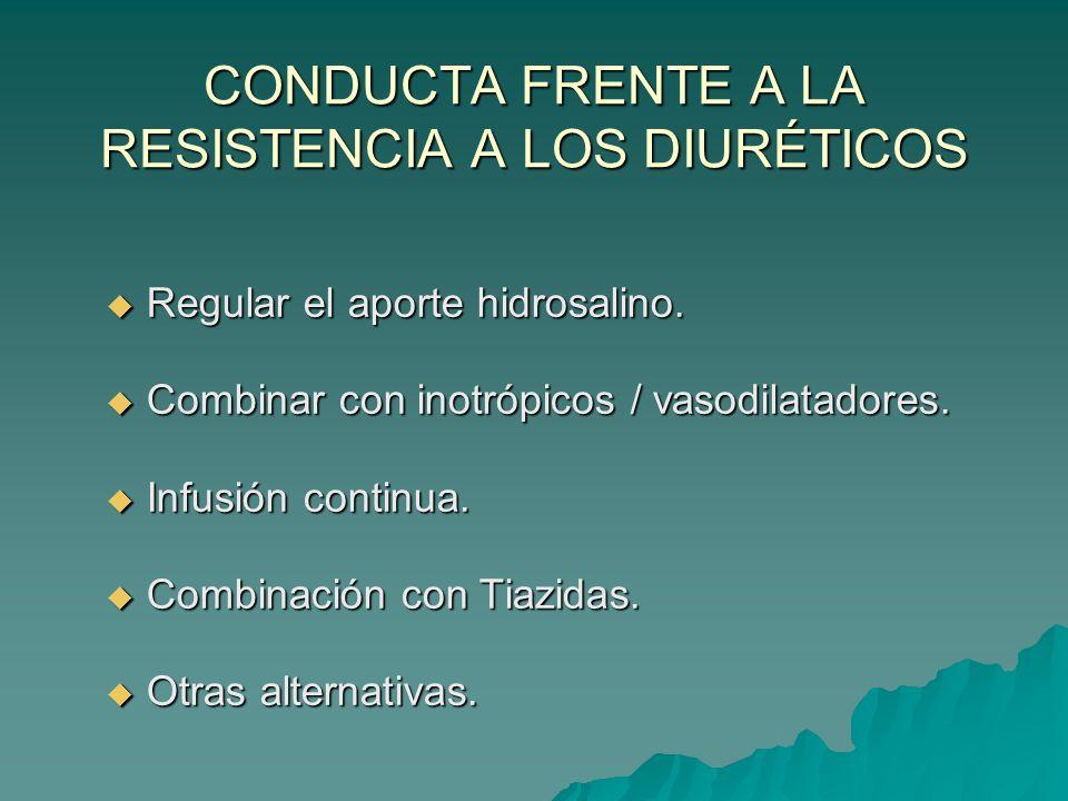 CONDUCTA FRENTE A LA RESISTENCIA A LOS DIURÉTICOS Regular el aporte hidrosalino.