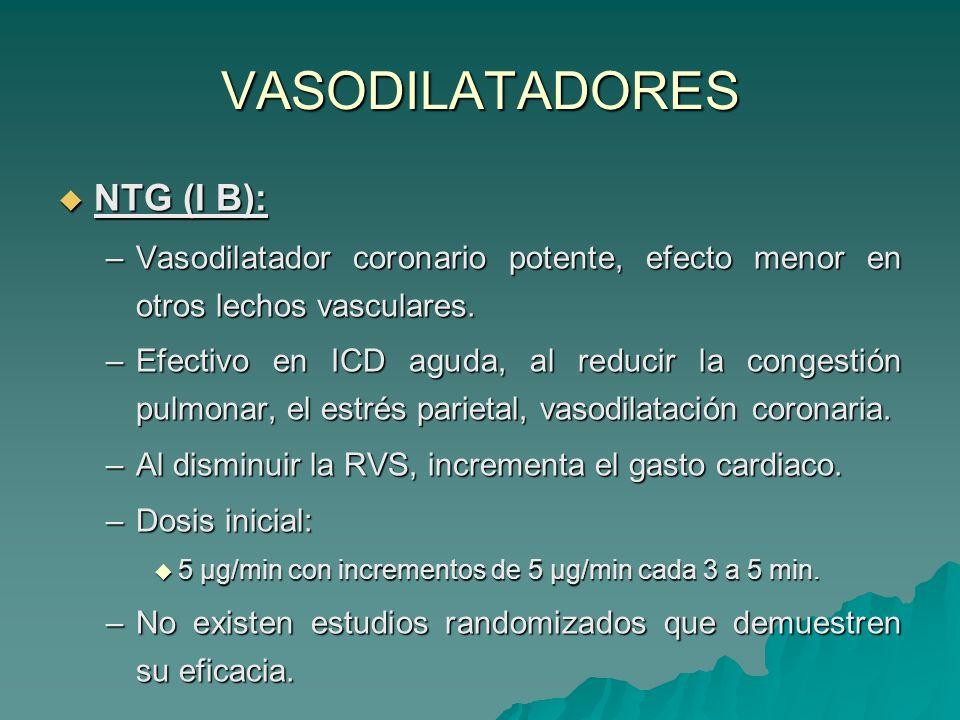 VASODILATADORES NTG (I B): NTG (I B): –Vasodilatador coronario potente, efecto menor en otros lechos vasculares.