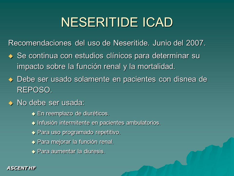 NESERITIDE ICAD Recomendaciones del uso de Neseritide.
