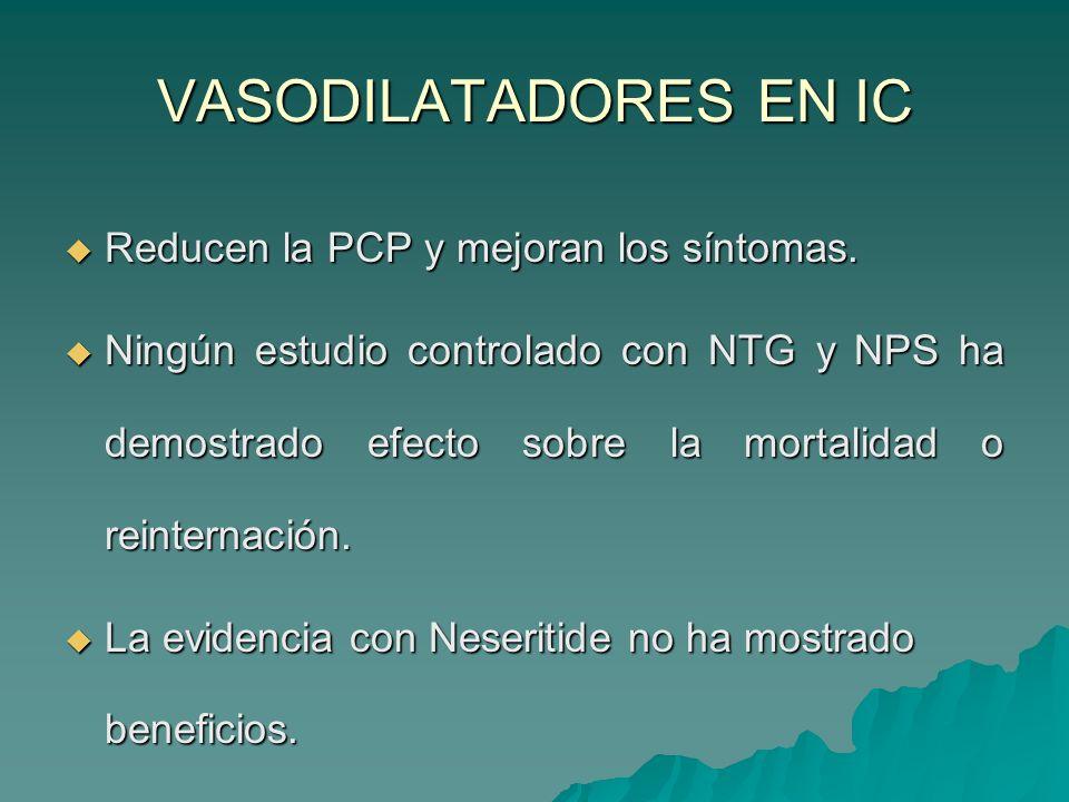 VASODILATADORES EN IC Reducen la PCP y mejoran los síntomas.