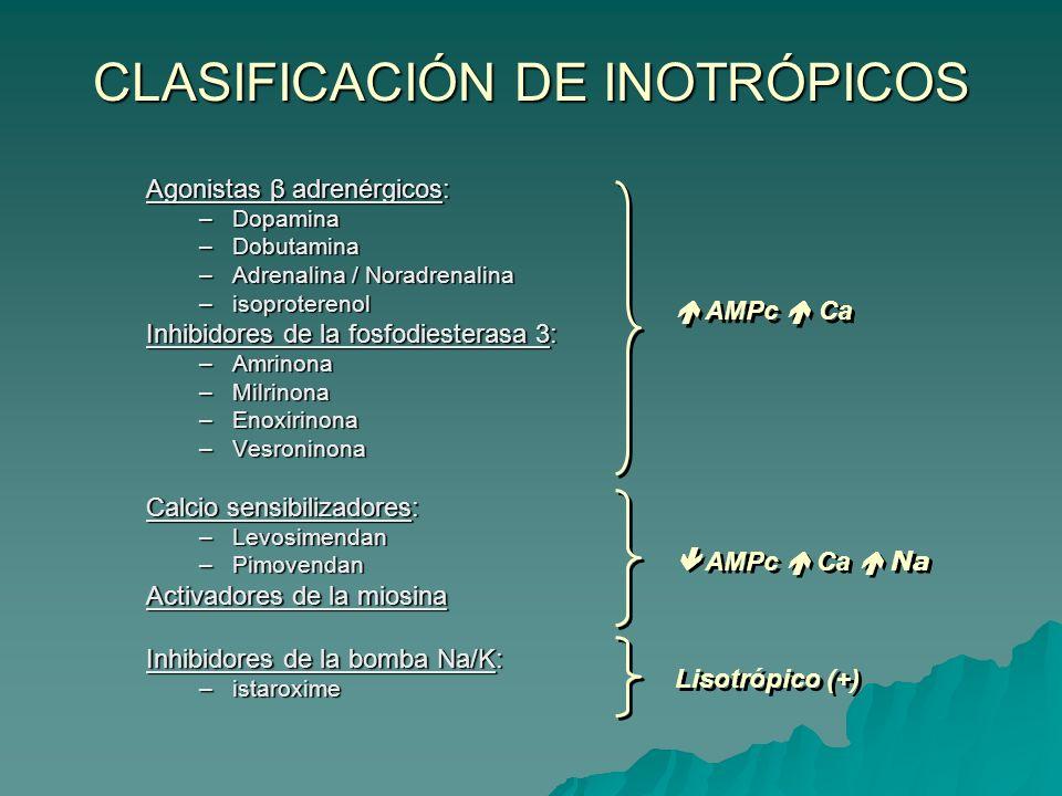 CLASIFICACIÓN DE INOTRÓPICOS Agonistas β adrenérgicos: –Dopamina –Dobutamina –Adrenalina / Noradrenalina –isoproterenol Inhibidores de la fosfodiesterasa 3: –Amrinona –Milrinona –Enoxirinona –Vesroninona Calcio sensibilizadores: –Levosimendan –Pimovendan Activadores de la miosina Inhibidores de la bomba Na/K: –istaroxime AMPc Ca AMPc Ca Na Lisotrópico (+)