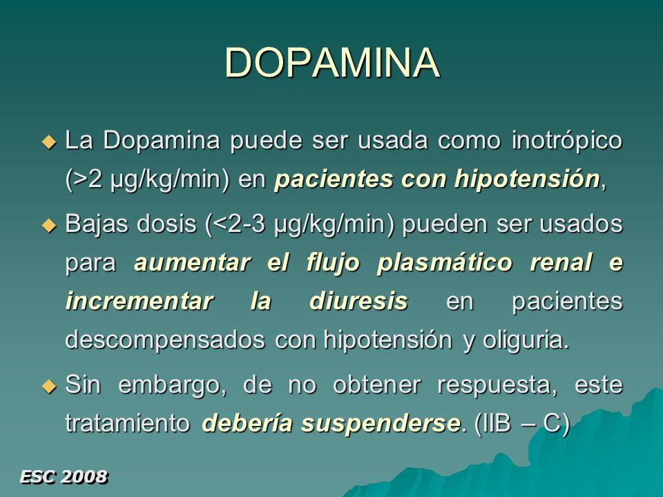 DOPAMINA La Dopamina puede ser usada como inotrópico (>2 µg/kg/min) en pacientes con hipotensión, La Dopamina puede ser usada como inotrópico (>2 µg/kg/min) en pacientes con hipotensión, Bajas dosis (<2-3 µg/kg/min) pueden ser usados para aumentar el flujo plasmático renal e incrementar la diuresis en pacientes descompensados con hipotensión y oliguria.