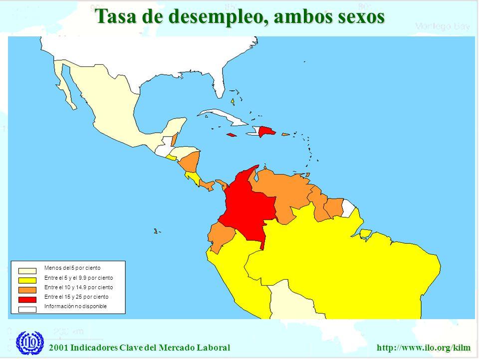 2001 Indicadores Clave del Mercado Laboralhttp://www.ilo.org/kilm Tasa de desempleo, ambos sexos Menos del 5 por ciento Entre el 5 y el 9.9 por ciento