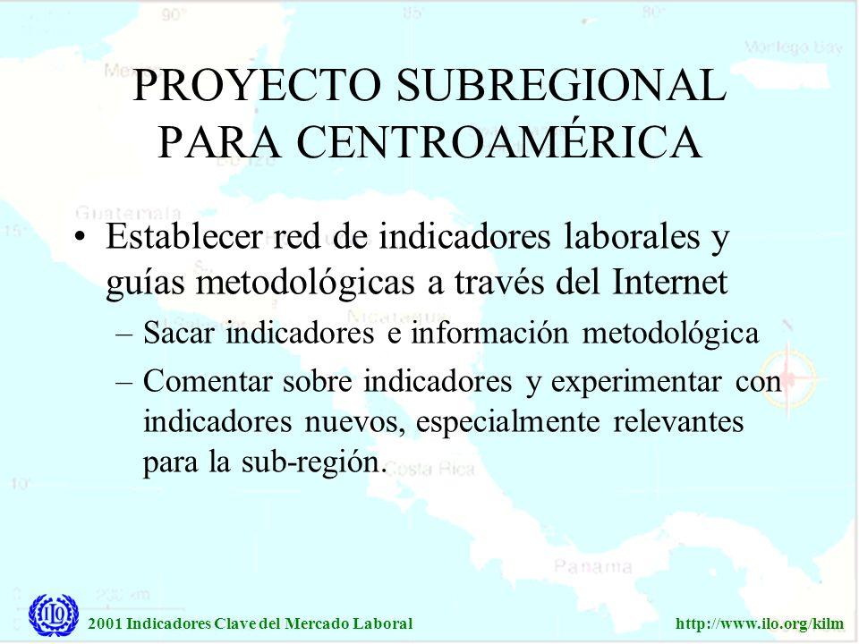 2001 Indicadores Clave del Mercado Laboralhttp://www.ilo.org/kilm PROYECTO SUBREGIONAL PARA CENTROAMÉRICA Establecer red de indicadores laborales y gu