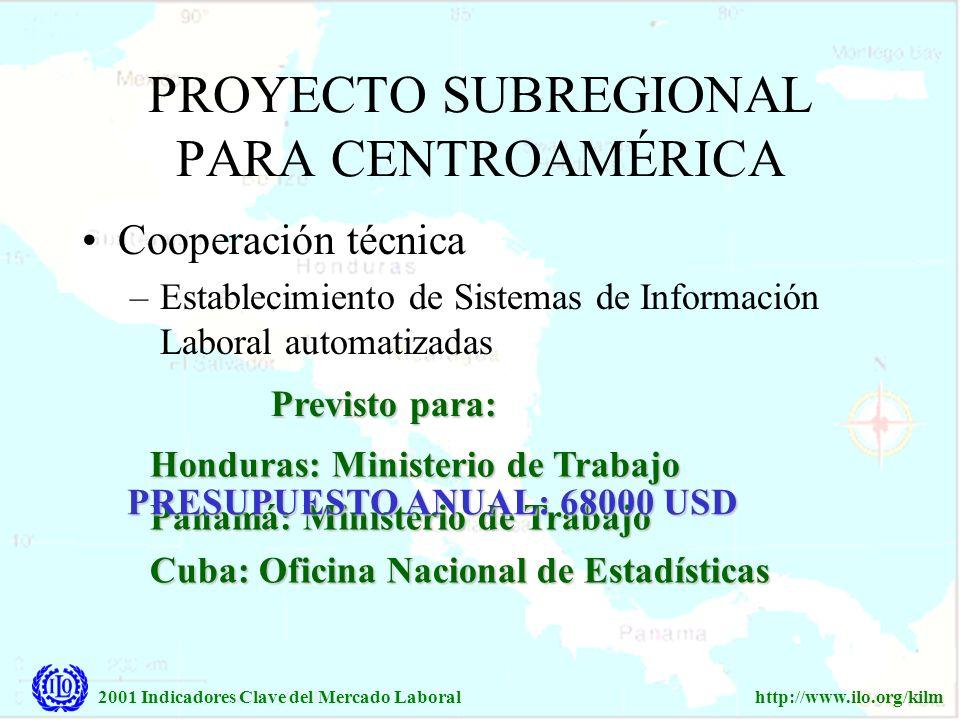 2001 Indicadores Clave del Mercado Laboralhttp://www.ilo.org/kilm Cooperación técnica –Establecimiento de Sistemas de Información Laboral automatizada