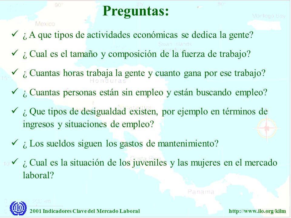2001 Indicadores Clave del Mercado Laboralhttp://www.ilo.org/kilm Preguntas: ¿ A que tipos de actividades económicas se dedica la gente? ¿ Cual es el