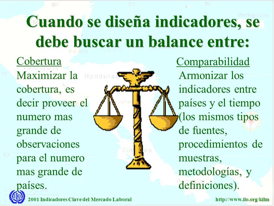 2001 Indicadores Clave del Mercado Laboralhttp://www.ilo.org/kilm Cuando se diseña indicadores, se debe buscar un balance entre: Maximizar la cobertur