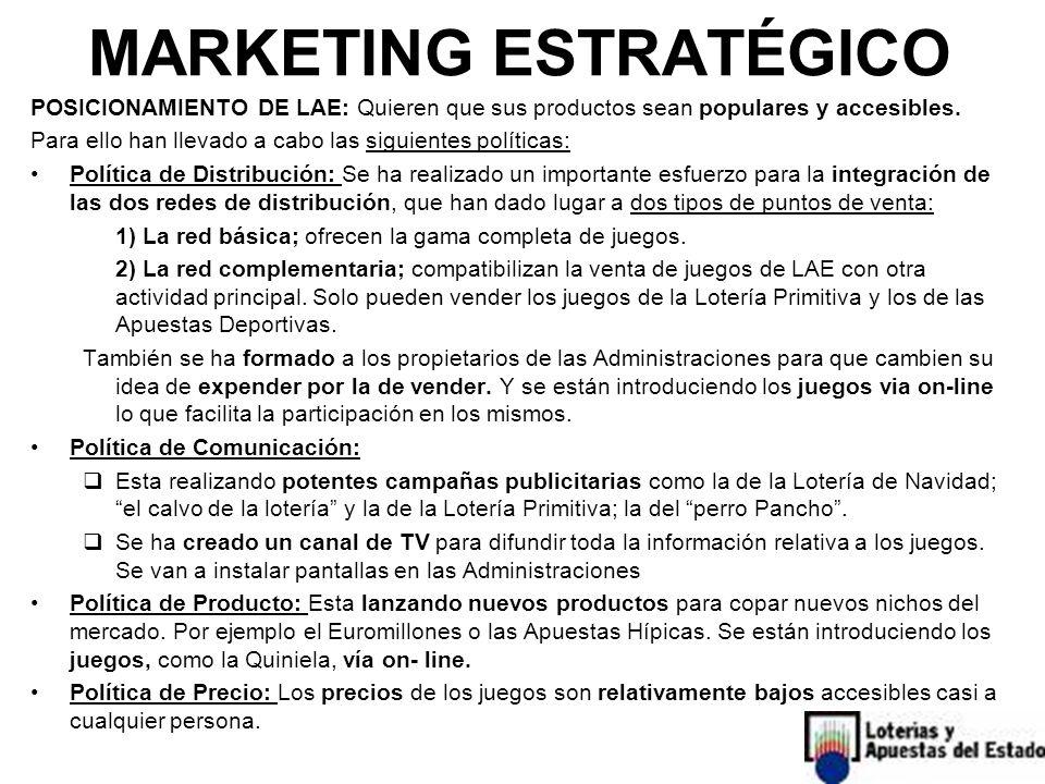 POSICIONAMIENTO DE LAE: Quieren que sus productos sean populares y accesibles. Para ello han llevado a cabo las siguientes políticas: Política de Dist
