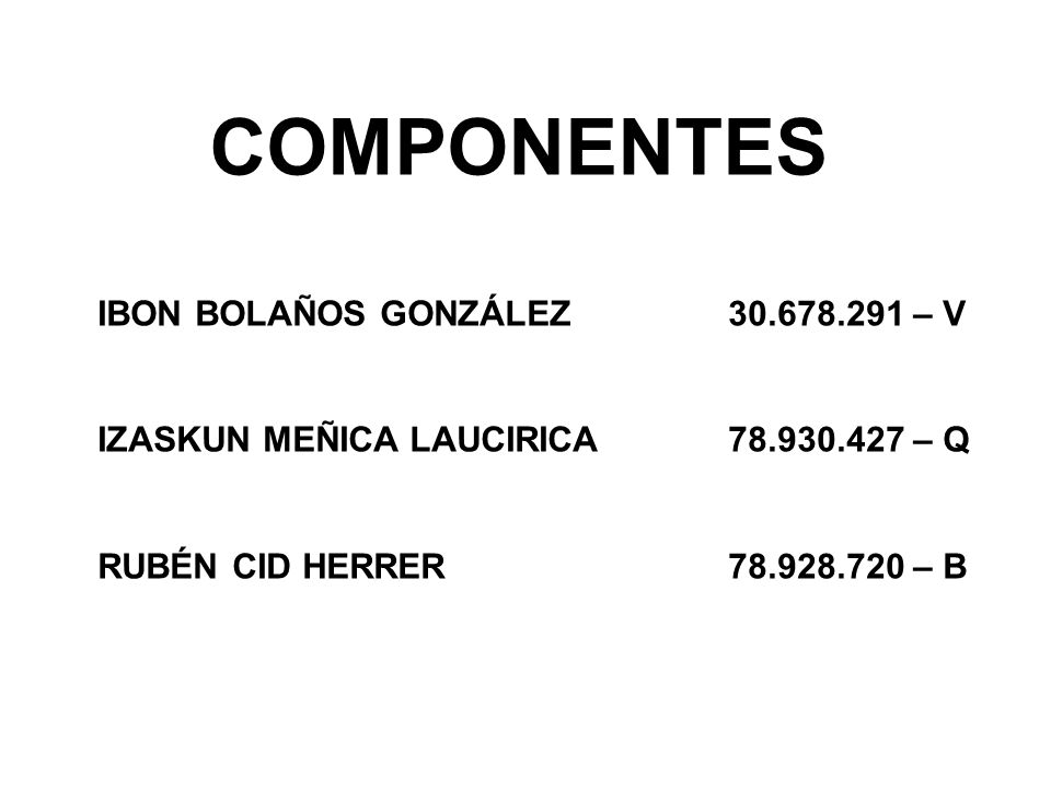 COMPONENTES IBON BOLAÑOS GONZÁLEZ 30.678.291 – V IZASKUN MEÑICA LAUCIRICA 78.930.427 – Q RUBÉN CID HERRER 78.928.720 – B