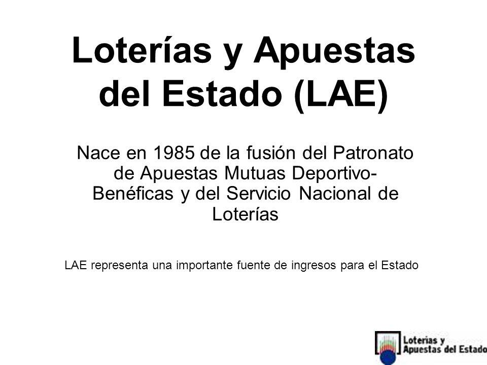 Loterías y Apuestas del Estado (LAE) Nace en 1985 de la fusión del Patronato de Apuestas Mutuas Deportivo- Benéficas y del Servicio Nacional de Loterías LAE representa una importante fuente de ingresos para el Estado