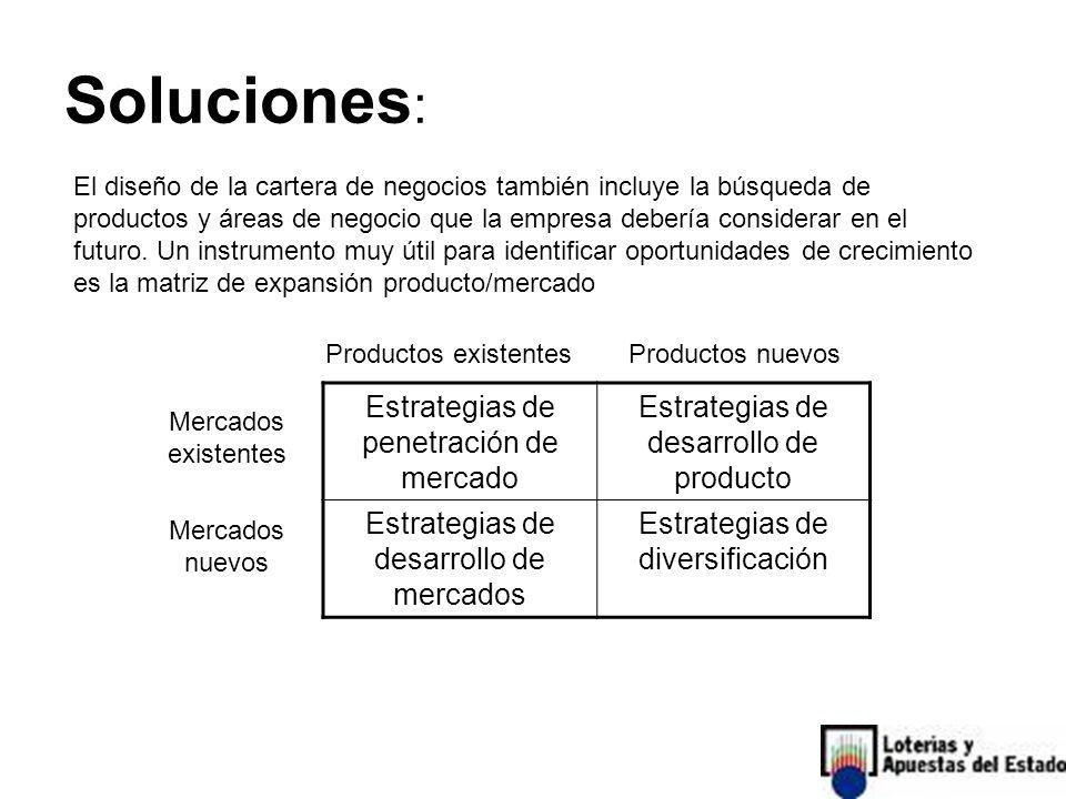 Soluciones : El diseño de la cartera de negocios también incluye la búsqueda de productos y áreas de negocio que la empresa debería considerar en el futuro.