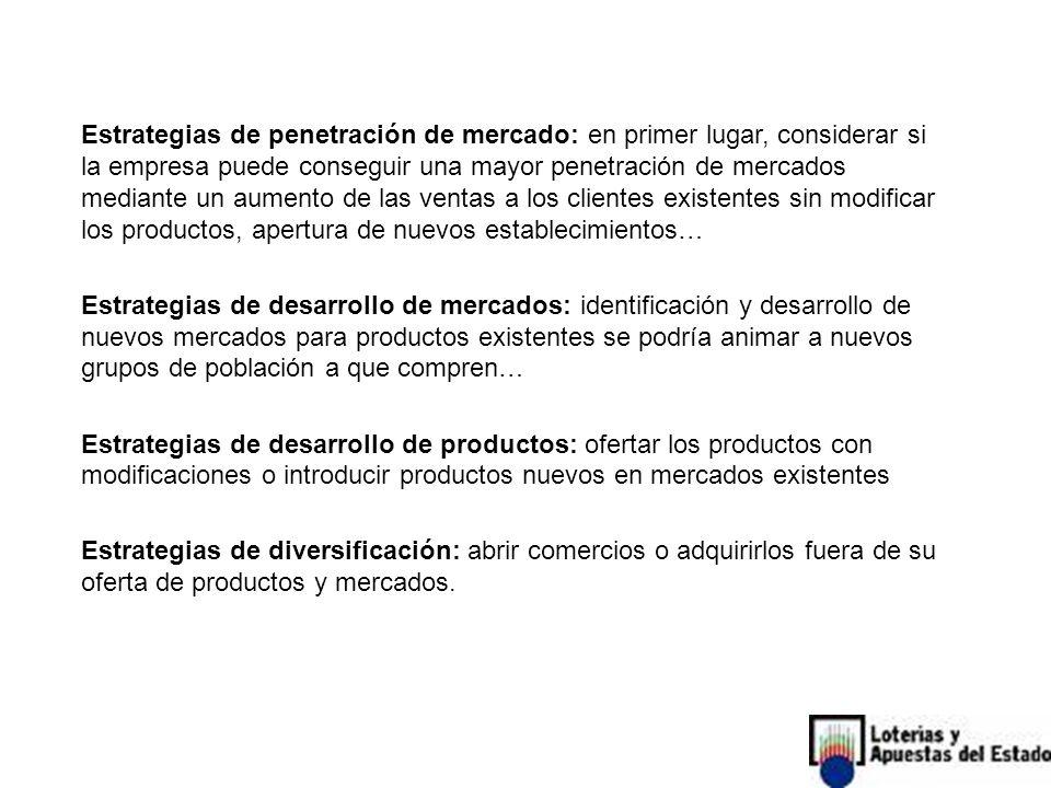 Estrategias de penetración de mercado: en primer lugar, considerar si la empresa puede conseguir una mayor penetración de mercados mediante un aumento de las ventas a los clientes existentes sin modificar los productos, apertura de nuevos establecimientos… Estrategias de desarrollo de mercados: identificación y desarrollo de nuevos mercados para productos existentes se podría animar a nuevos grupos de población a que compren… Estrategias de desarrollo de productos: ofertar los productos con modificaciones o introducir productos nuevos en mercados existentes Estrategias de diversificación: abrir comercios o adquirirlos fuera de su oferta de productos y mercados.