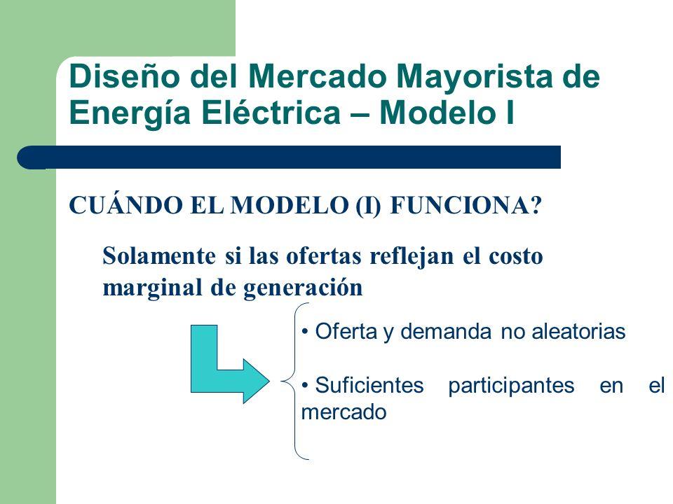 Diseño del Mercado Mayorista de Energía Eléctrica – Modelo I CUÁNDO EL MODELO (I) FUNCIONA? Solamente si las ofertas reflejan el costo marginal de gen