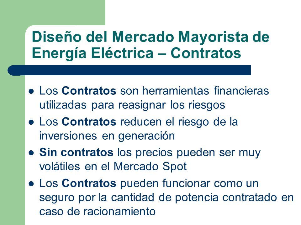 Diseño del Mercado Mayorista de Energía Eléctrica – Contratos Los Contratos son herramientas financieras utilizadas para reasignar los riesgos Los Con