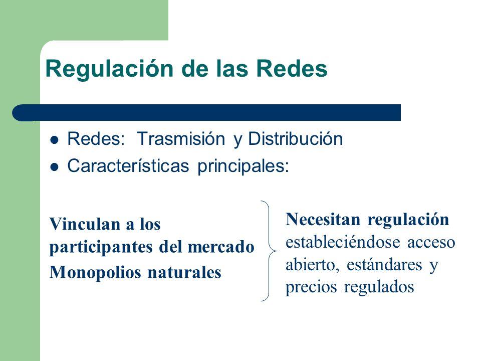 Regulación de las Redes Redes: Trasmisión y Distribución Características principales: Vinculan a los participantes del mercado Monopolios naturales Ne