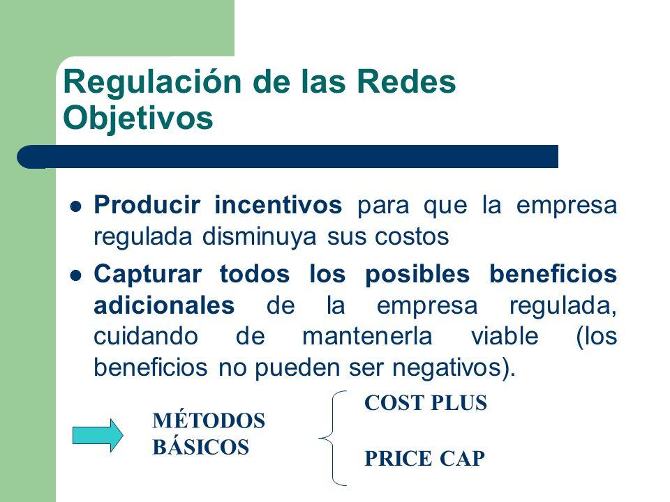 Regulación de las Redes Objetivos Producir incentivos para que la empresa regulada disminuya sus costos Capturar todos los posibles beneficios adicion