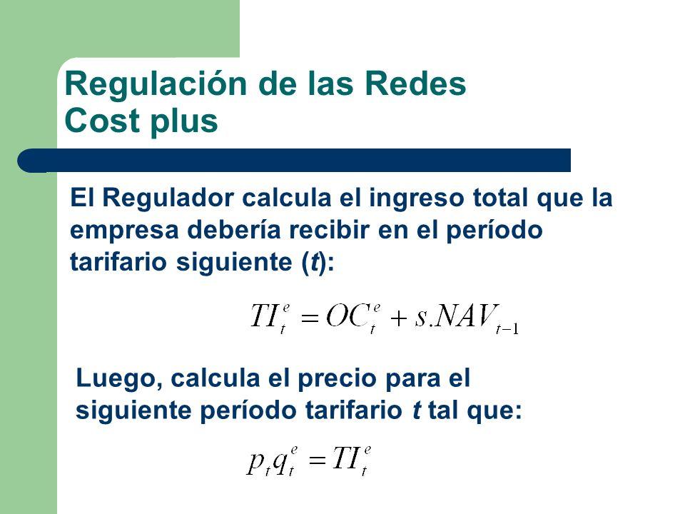 Regulación de las Redes Cost plus El Regulador calcula el ingreso total que la empresa debería recibir en el período tarifario siguiente (t): Luego, c