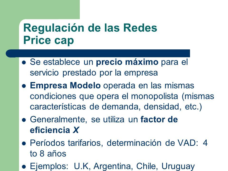 Regulación de las Redes Price cap Se establece un precio máximo para el servicio prestado por la empresa Empresa Modelo operada en las mismas condicio