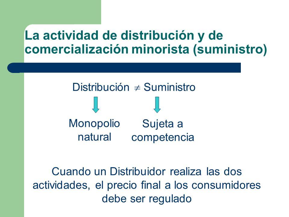 La actividad de distribución y de comercialización minorista (suministro) Distribución Suministro Monopolio natural Sujeta a competencia Cuando un Dis