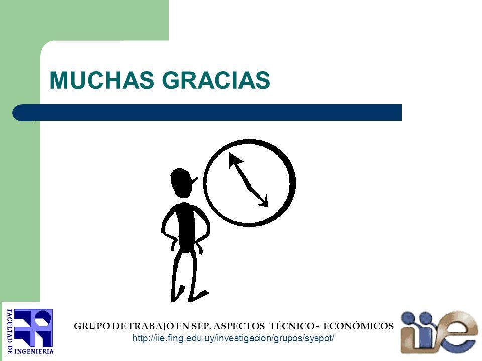 MUCHAS GRACIAS GRUPO DE TRABAJO EN SEP. ASPECTOS TÉCNICO - ECONÓMICOS http://iie.fing.edu.uy/investigacion/grupos/syspot/