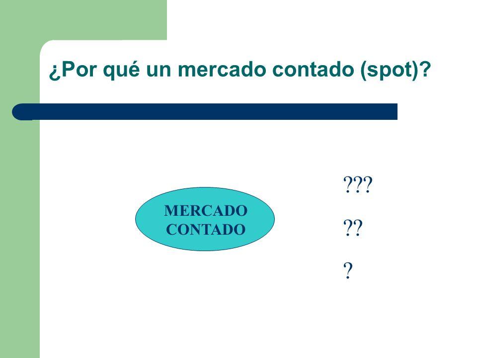 ¿Por qué un mercado contado (spot)? MERCADO CONTADO ??? ?? ?