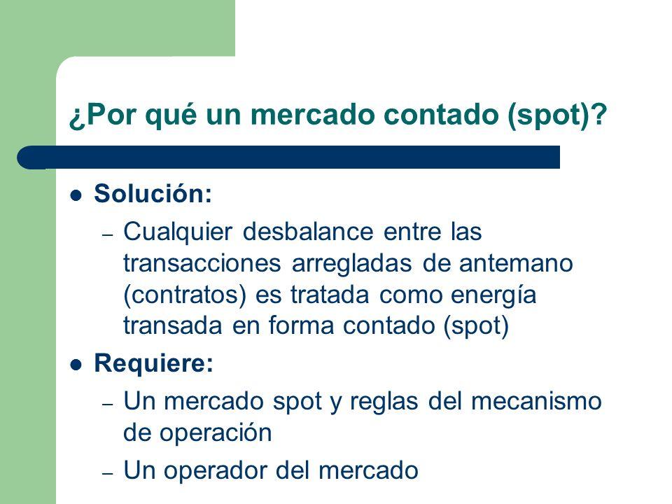 ¿Por qué un mercado contado (spot)? Solución: – Cualquier desbalance entre las transacciones arregladas de antemano (contratos) es tratada como energí