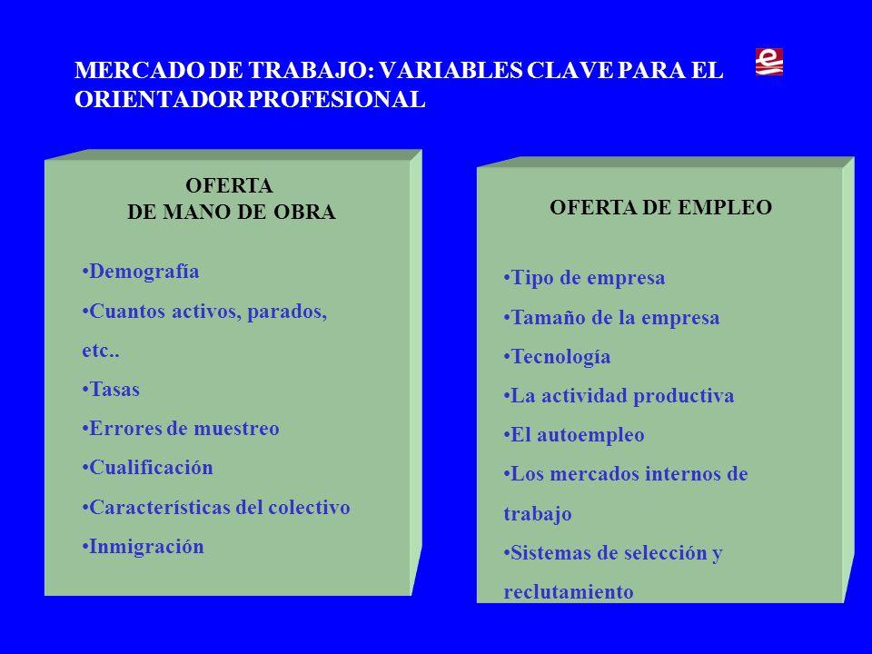 MERCADO DE TRABAJO: VARIABLES CLAVE PARA EL ORIENTADOR PROFESIONAL OFERTA DE MANO DE OBRA Demografía Cuantos activos, parados, etc..
