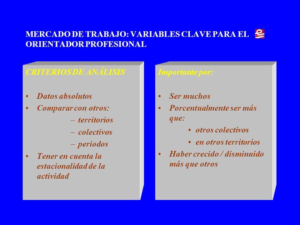 MERCADO DE TRABAJO: VARIABLES CLAVE PARA EL ORIENTADOR PROFESIONAL Paro registrado Octubre -2004