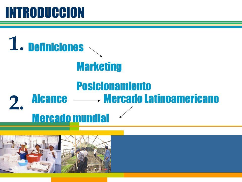INTRODUCCION 1. Definiciones Marketing Posicionamiento Alcance Mercado Latinoamericano Mercado mundial 2.