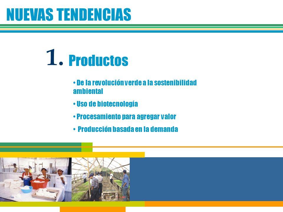 NUEVAS TENDENCIAS 1. Productos De la revolución verde a la sostenibilidad ambiental Uso de biotecnología Procesamiento para agregar valor Producción b