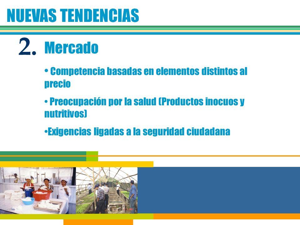 NUEVAS TENDENCIAS Mercado Competencia basadas en elementos distintos al precio Preocupación por la salud (Productos inocuos y nutritivos) Exigencias l