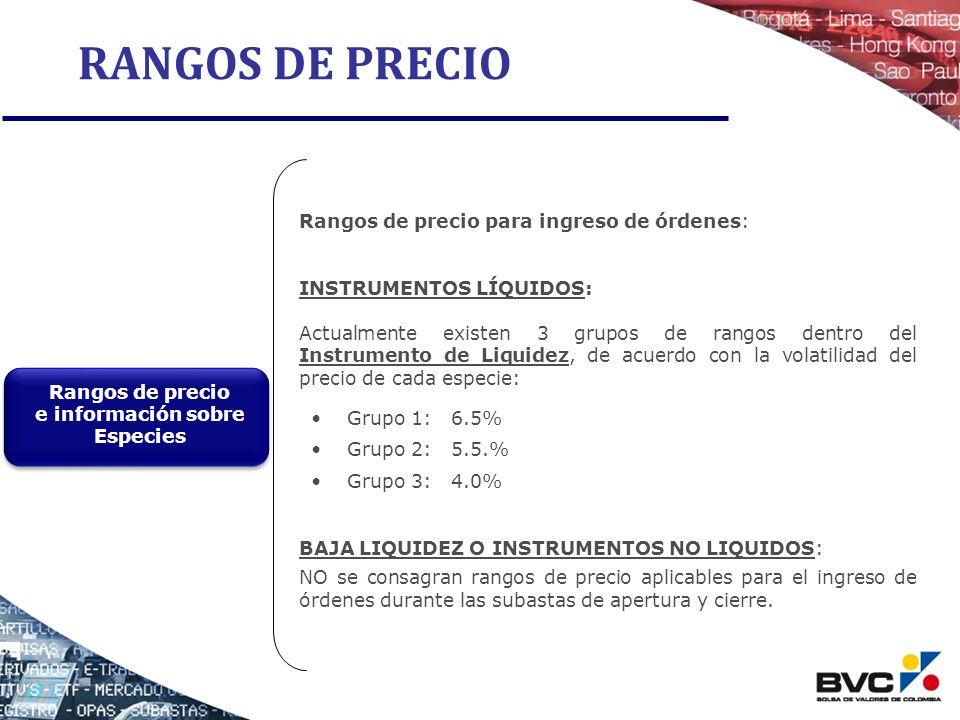 RANGOS DE PRECIO Rangos de precio para ingreso de órdenes: INSTRUMENTOS LÍQUIDOS: Actualmente existen 3 grupos de rangos dentro del Instrumento de Liq