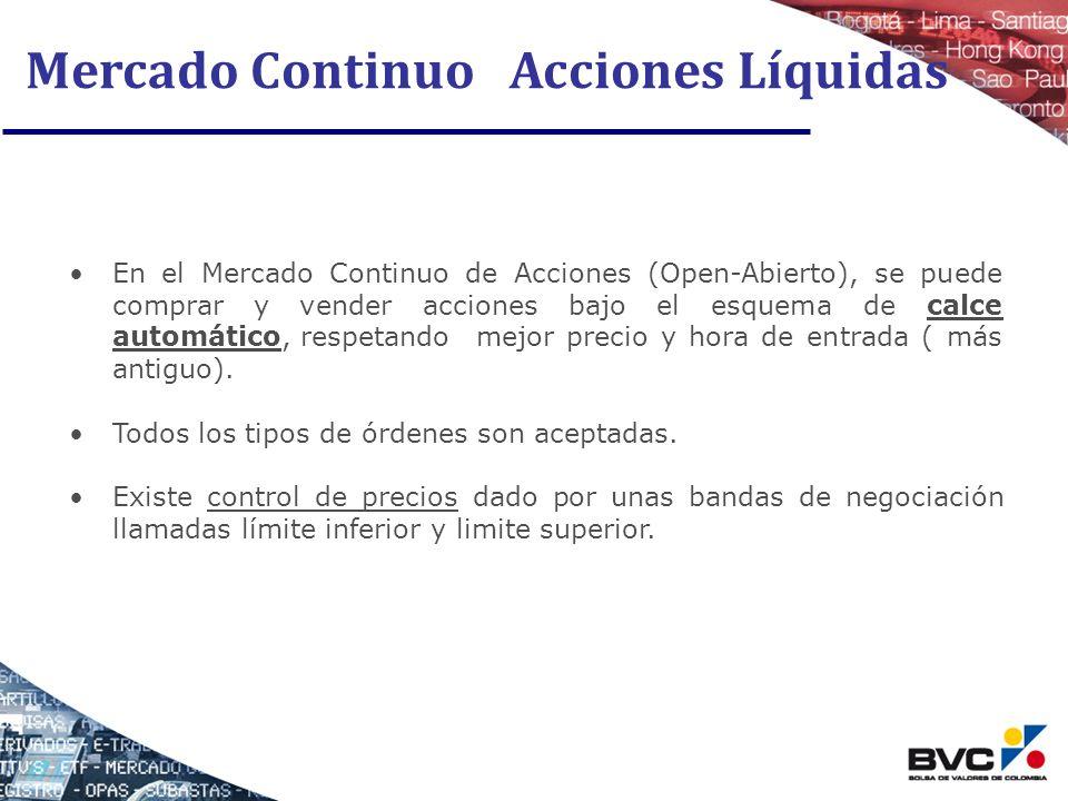 Mercado Continuo Acciones Líquidas En el Mercado Continuo de Acciones (Open-Abierto), se puede comprar y vender acciones bajo el esquema de calce auto