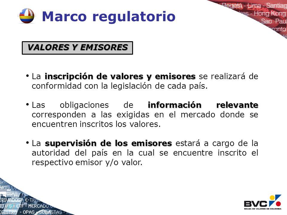Marco regulatorio NEGOCIACIÓN negociación La negociación se realiza bajo reglas del mercado donde estén listados los valores.